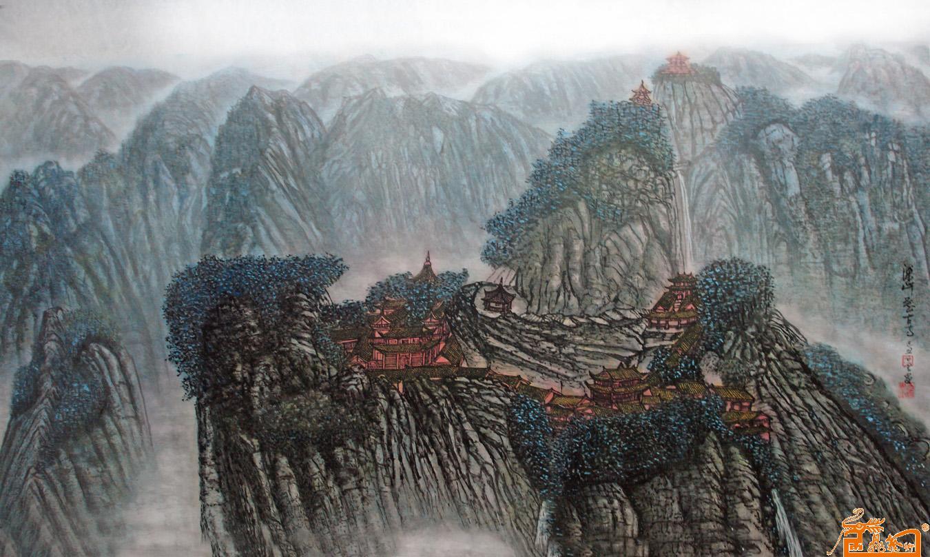汪天寿 白云 深山藏古寺 淘宝 名人字画 中国书画服务中心 中国书画销